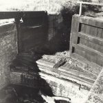 cropwell lock 1955 showing wooden forebay